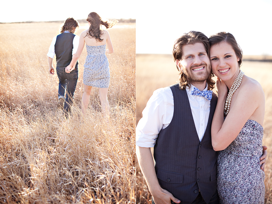 sweet, lovely simple engagement pictures in a field by aric and casey photography