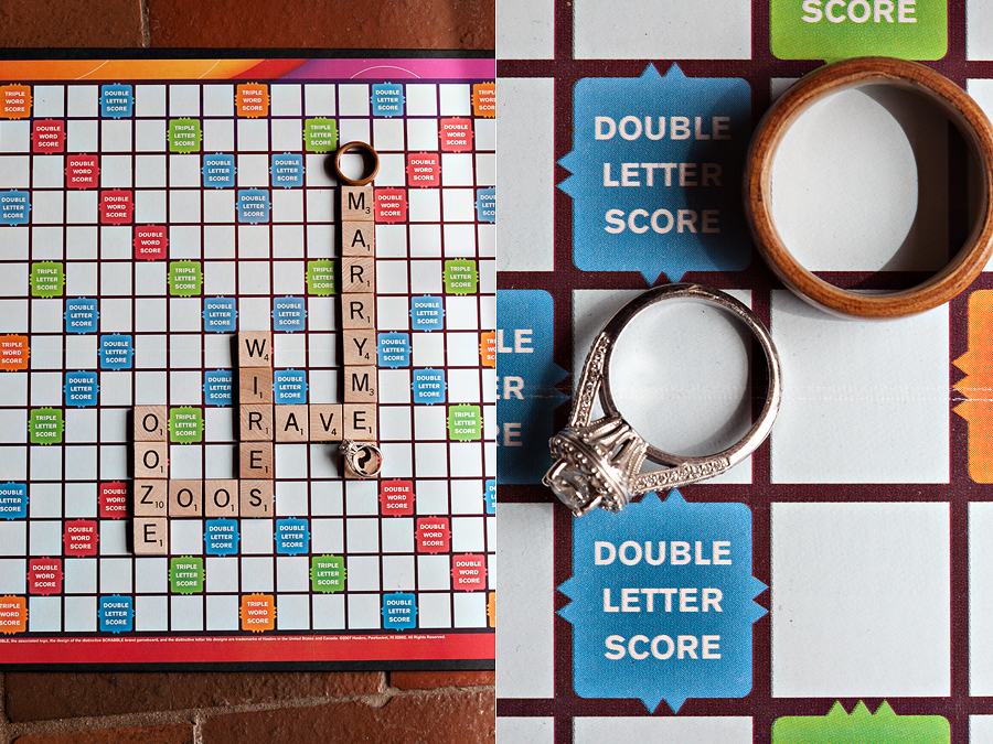 Scrabble wedding proposal board and wedding rings by Aric + Casey Photography