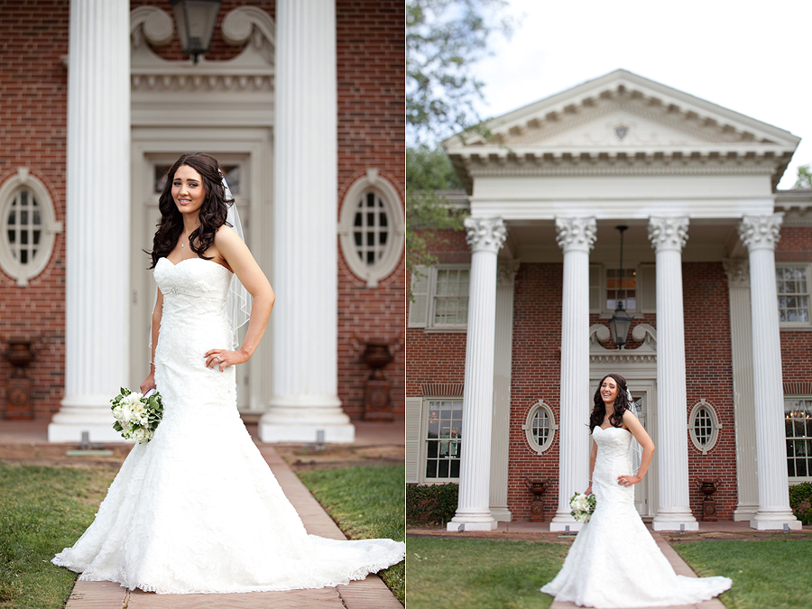 Beautiful Bridal Pictures in front of Historic Lubbock Home