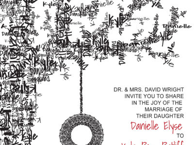 Tire swing wedding invitation