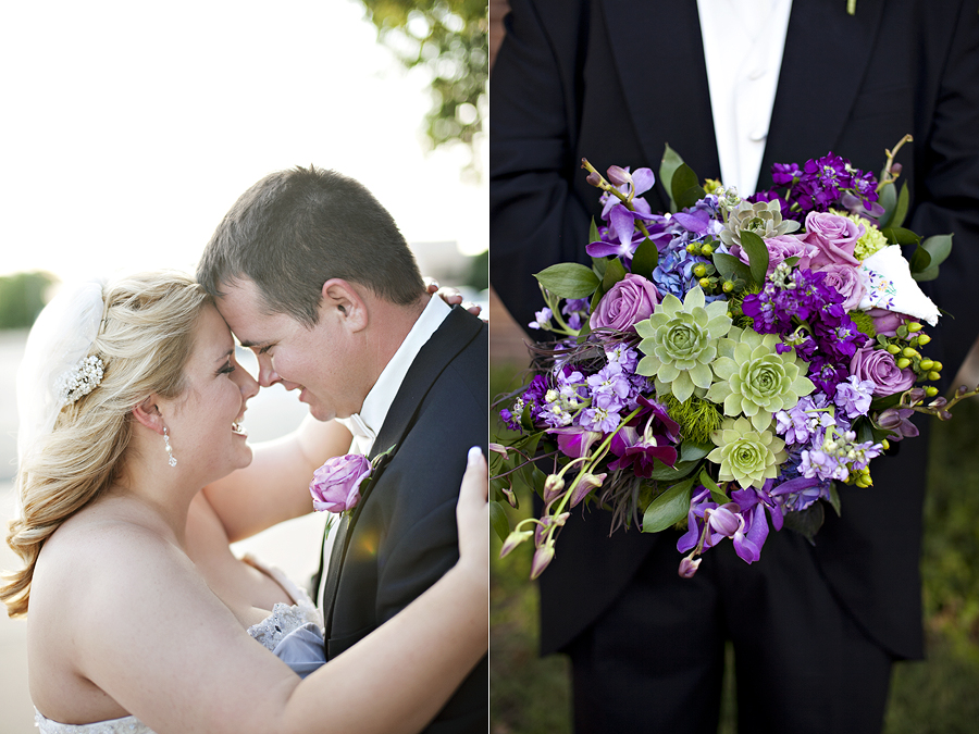 College Flowers purple and green bouquet