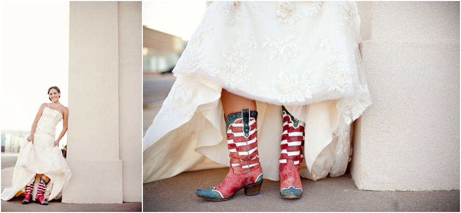 red white and blue cowboy boots with wedding dress