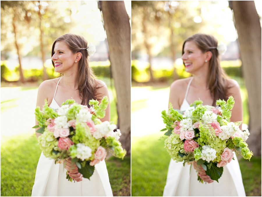 College flowers soft pink green and white wedding bouquet