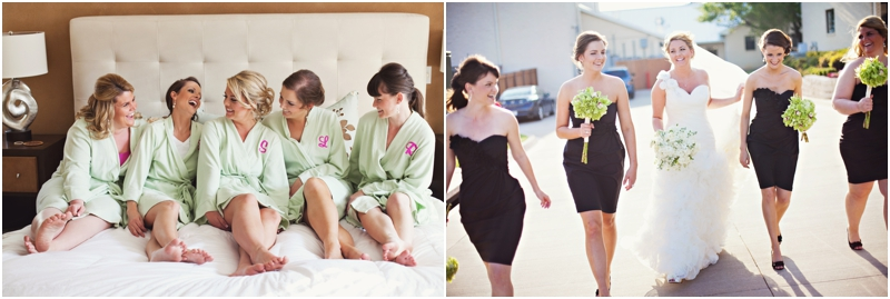Bridesmaids in little black dresses