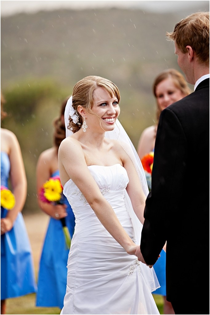 bride married in the rain in Albuquerque mountains