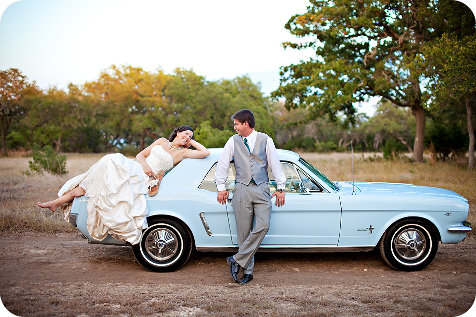 67 blue mustang wedding getaway car