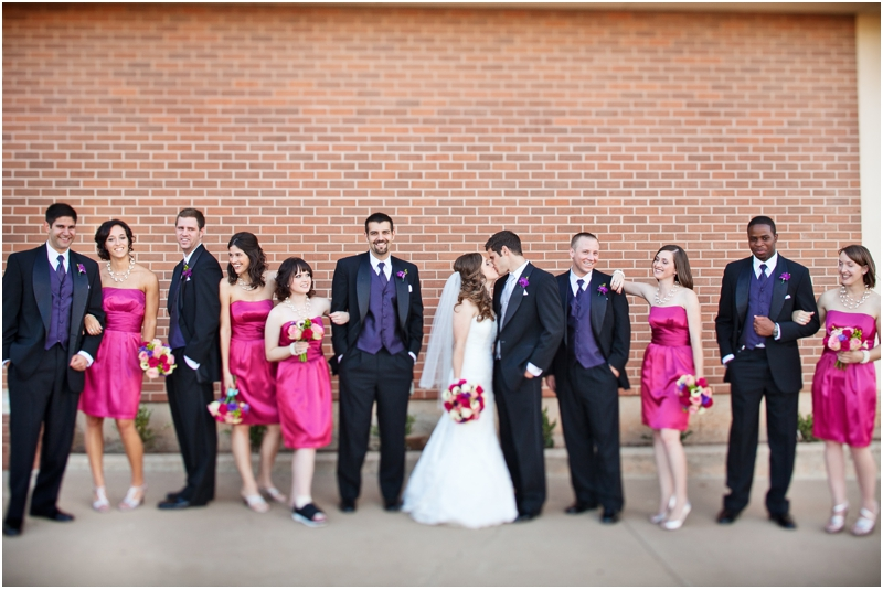 Pink and purple bridal party