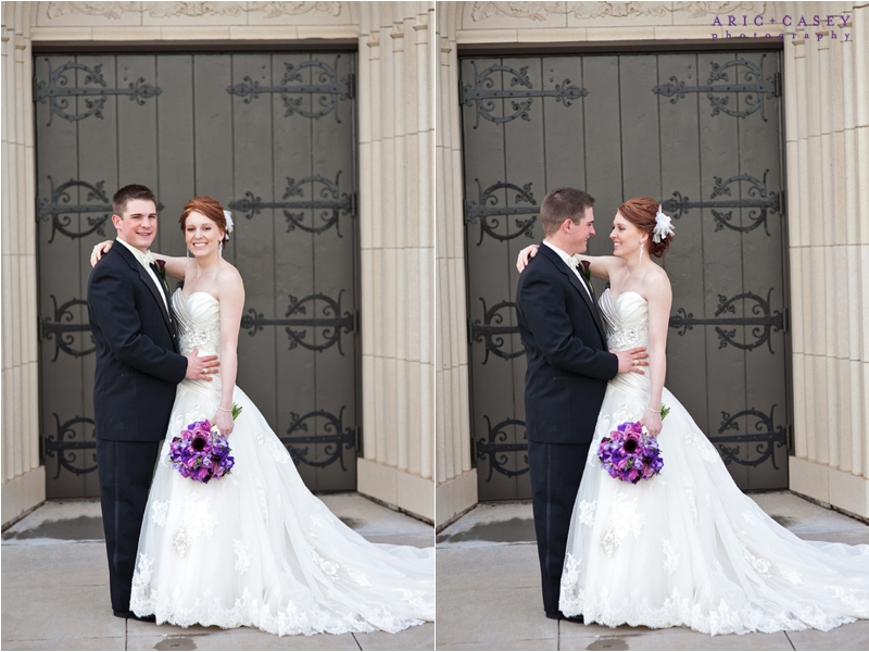 Red haired bride and purple wedding flowers