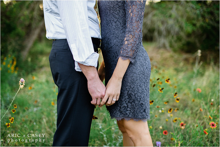 DVF lace dress and suit for engagement session