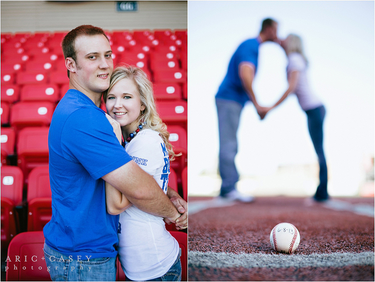 Baseball themed engagement session and save the date