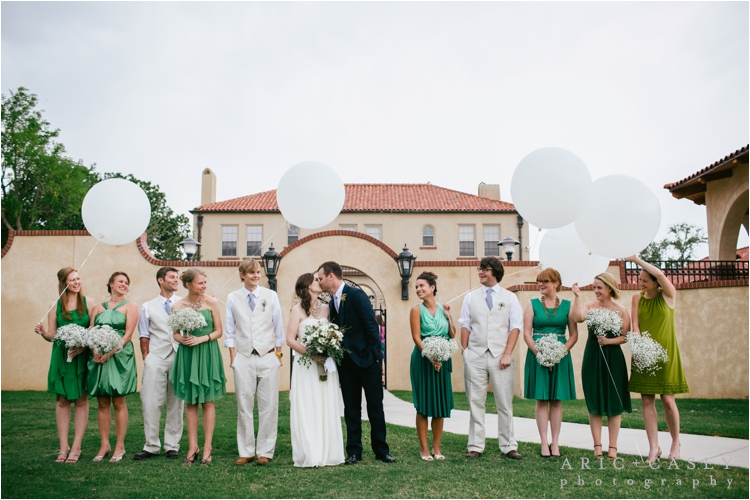 Merket alumni Center wedding with college flowers white geronimo balloons