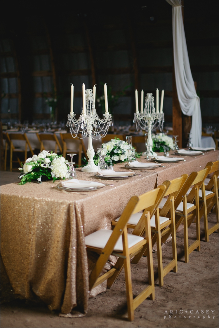 glamorous head table for barn wedding