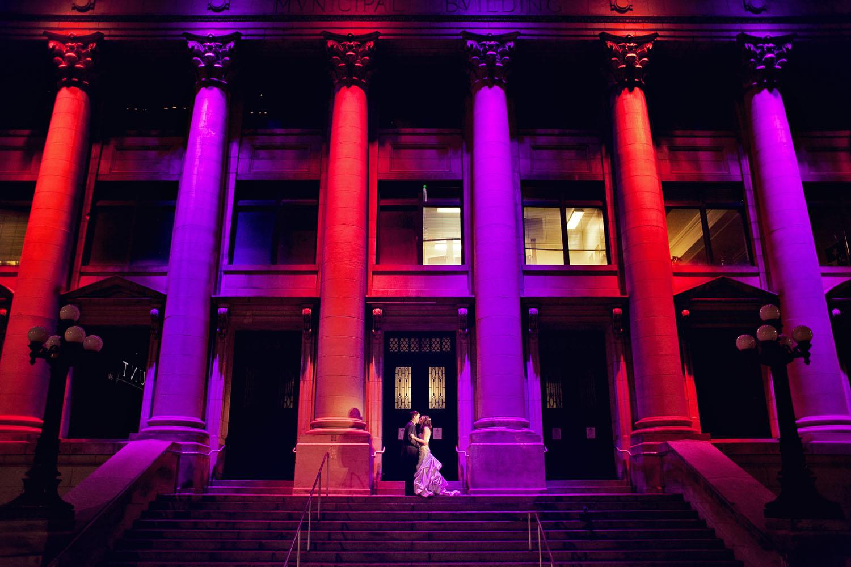 night wedding portrait dallas